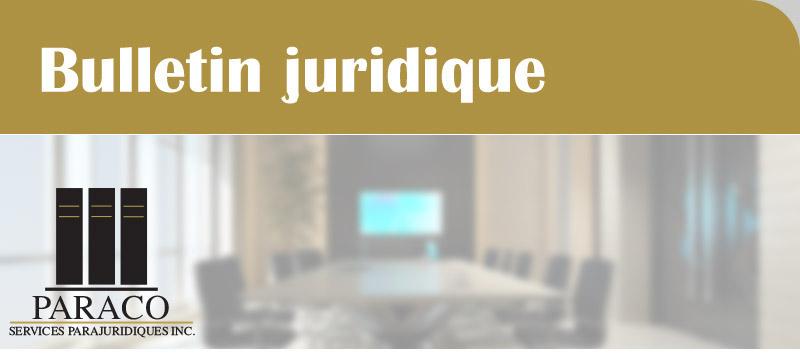 Bulletin juridique de Paraco